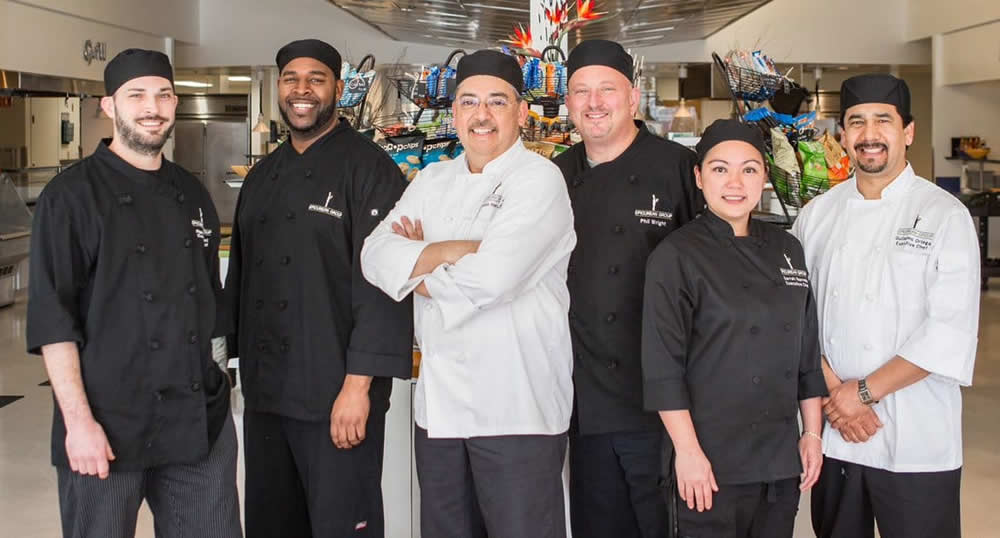 Visiting Guest Chefs, left to right: Ryan Satchwell, Marcus Triggs, SVP Reynaldo Hernandez, VP Corporate Chef Phil Wright, Sarrah Ponce De Leon, Guillermo Ortega